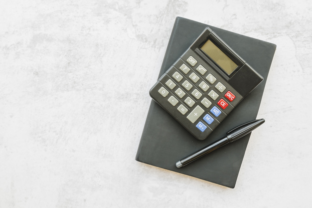 calculator with notebook table
